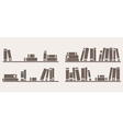 Book on shelf icon set bookshelf school objects vector image