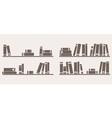 Book on shelf icon set bookshelf school objects vector image vector image