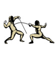 fencers in action vector image vector image