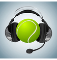 tennis ball with headphones vector image