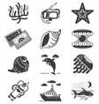 Black monochrome marine icons vector image