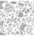 ethnic ornamental cute monsters seamless pattern vector image