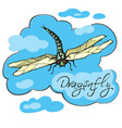 Hand drawn ink of dragonfly vector image