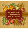 Happy Thanksgiving Retro Card vector image