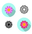 set of lotus flower icons in flat style vector image