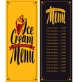 menu for cafe with ice cream vector image
