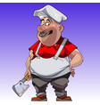 cartoon man in chefs clothes with the axe vector image