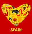 spain background in shape of heart spanish vector image