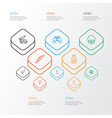 Warfare outline icons set collection of cranium vector image