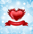 Red heart on blue sky for Valentines day vector image vector image