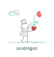 Sexologist is holding a flower with a heart vector image