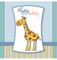 happy birthday card with nice giraffe vector image