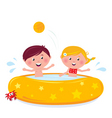 cartooon kids in pool vector image