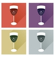 Set of flat icons with shadow glass champagne with vector image
