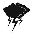 cloud thunder flash icon simple black style vector image