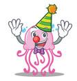 clown cute jellyfish character cartoon vector image