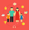concept family with icons lifestyle young couple vector image