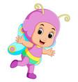 cute girl cartoon wearing butterfly costume vector image
