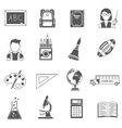 Education Icons Black Set vector image