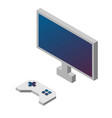 game controller and monitor isometric vector image