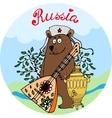 Hospitable Russian bear with a balalaika vector image