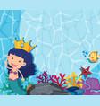 underwater scene with mermaid and fish vector image