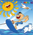 Cartoon boy water skiiing vector image vector image