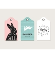 Easter tags labels with cute bunny and flowers vector image