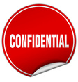 confidential round red sticker isolated on white vector image