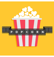 Big Popcorn Film strip ribbon line with text Red vector image