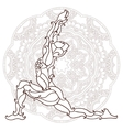 card with pose ornament yoga vector image