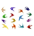 Colorful origami paper swallow birds vector image