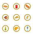 fast food icons set cartoon style vector image