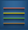 multicolored shelves on the blue wall vector image