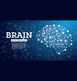 neon brain connections on blue background vector image