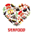 Seafood cuisine heart symbol with sushi icons vector image