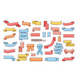 set of colorful ribbons of different shapes vector image