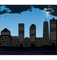 Silhouette of Big City on Background of Bright vector image