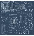 Wight doodle arrow in dark blue background vector image