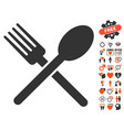 fork and spoon icon with lovely bonus vector image