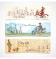 Urban people horizontal banners sketch colored vector image