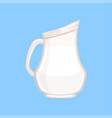 glass jug or pitcher of milk fresh healthy dairy vector image