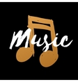 Hand-drawn gold music note on black background for vector image