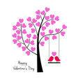 valentines day birds on swing with tree vector image