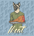 cat with meat ham vector image