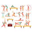 gymnastics and actobatics decorative icons set vector image