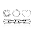 collection of metal chain parts vector image vector image