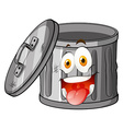 Trashcan with smiling face vector image