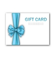 Decorated gift card with blue ribbon and bow vector