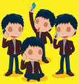 Man Character Call Business Set vector image